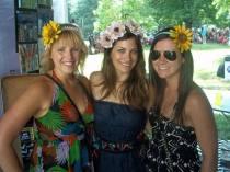 Rachel (in middle) modeling her flowers
