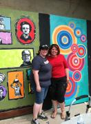 Donna Estep and Jeather Wirth with their finished paintings