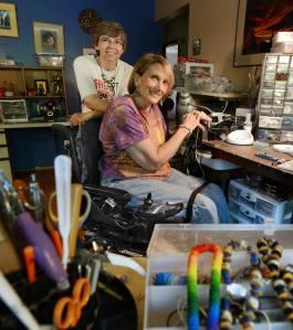 River and her partner, Jonny in their studio