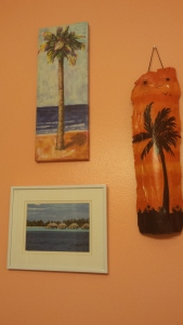 Palm Frond painting on the right