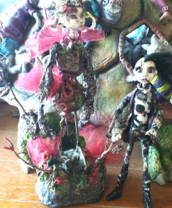 Two of her artful dolls