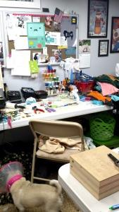 Her sewing studio (notice her helper!)