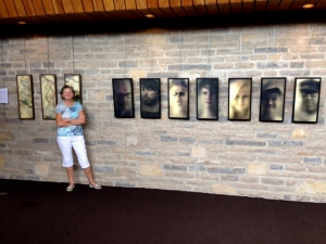 Barb with her pieces at the recent art show in Upper Arlington